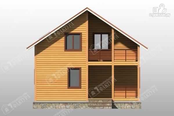 Фото 4: проект дом 8х8 из бруса с террасой и балконом