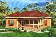 Фото: дом 11х12 из бруса с террасой