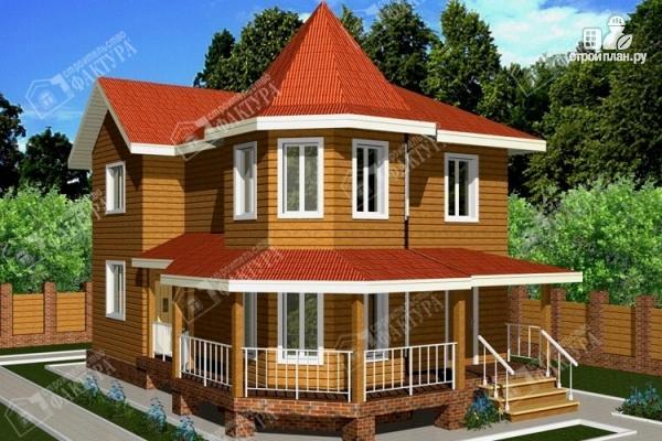 Фото: проект дом 7х11 из бруса с угловой верандой