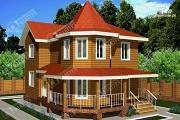 Фото: дом 7х11 из бруса с угловой верандой