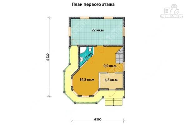 Фото 2: проект дом 7х11 из бруса с угловой верандой