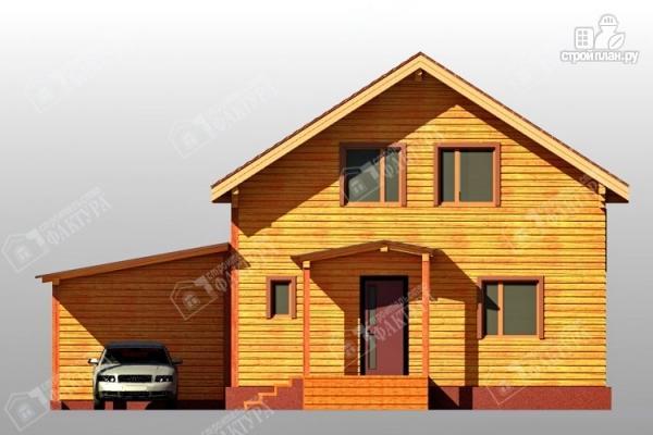 Фото 6: проект дом 9х12 из бруса с террасой и навесом для машины