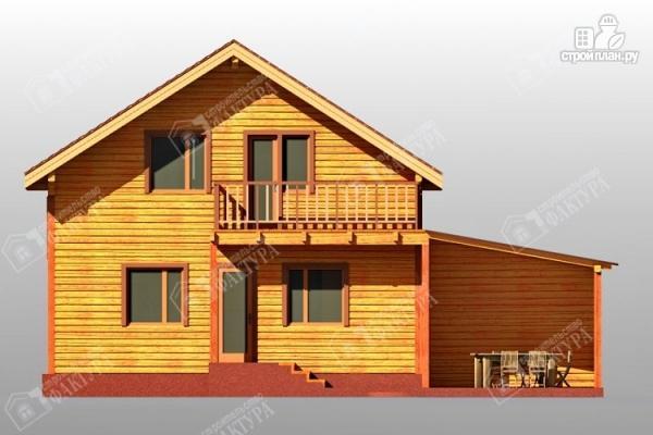 Фото 4: проект дом 9х12 из бруса с террасой и навесом для машины