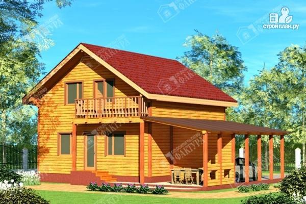 Фото: проект дом 9х12 из бруса с террасой и навесом для машины