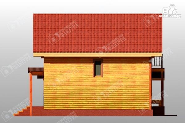 Фото 7: проект дом 9х12 из бруса с террасой и навесом для машины