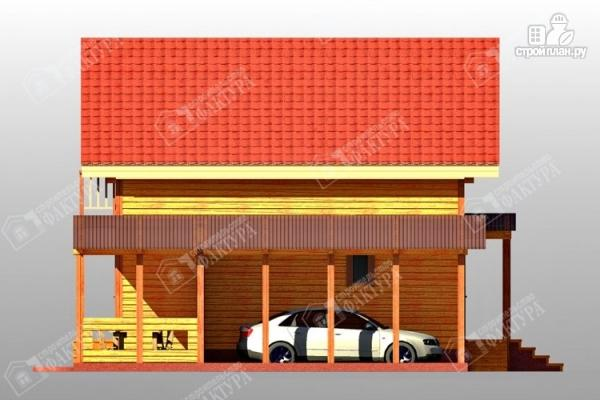 Фото 5: проект дом 9х12 из бруса с террасой и навесом для машины