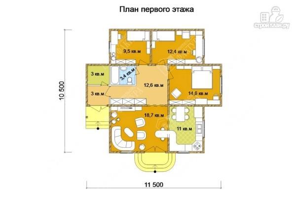 Фото 2: проект одноэтажный дом из пиленного бруса 150 мм
