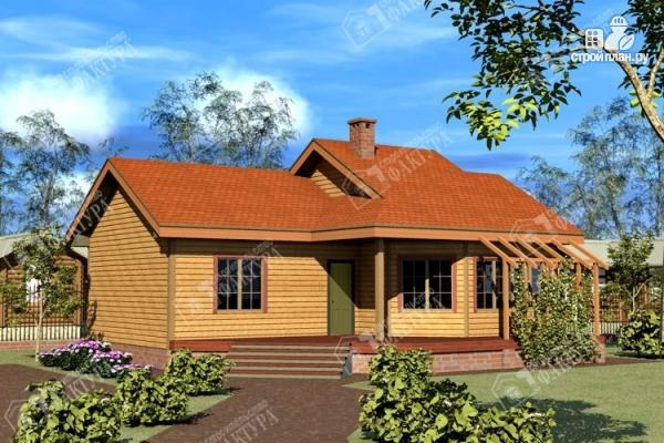 Фото: проект дом 9х11 из бруса с большой террасой
