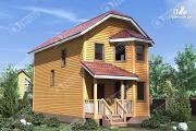 Фото: двухэтажный дом из бруса для узкого участка