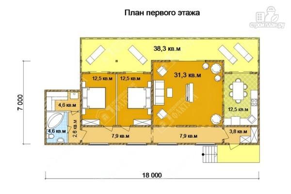 Фото 2: проект дом 7х18 из бруса с больщой террасой