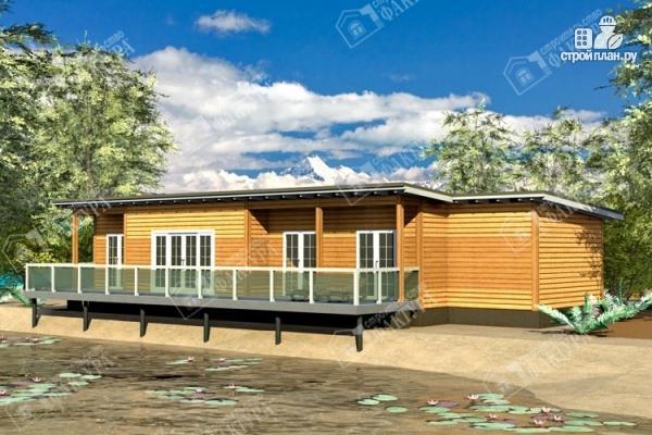 Фото: проект дом 7х18 из бруса с больщой террасой