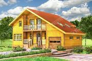 Проект дом из бруса с балконом и гаражом