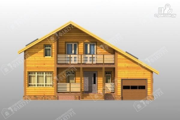 Фото 4: проект дом из бруса с балконом и гаражом