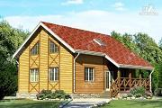 Фото: двухэтажный брусовой дом с террасой