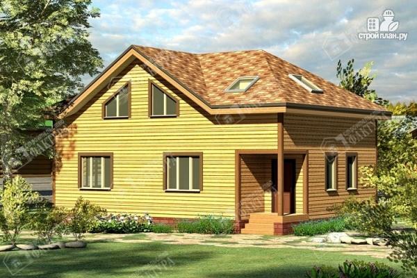 Фото: проект дом 8х12 из бруса с угловым крыльцом