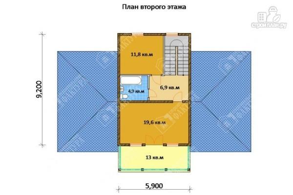 Фото 3: проект дом из бруса с широким балконом