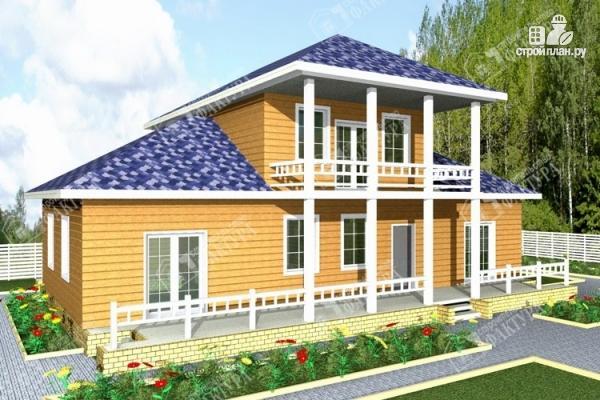 Фото: проект дом из бруса с широким балконом