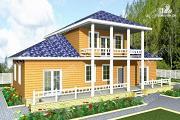 Фото: дом из бруса с широким балконом
