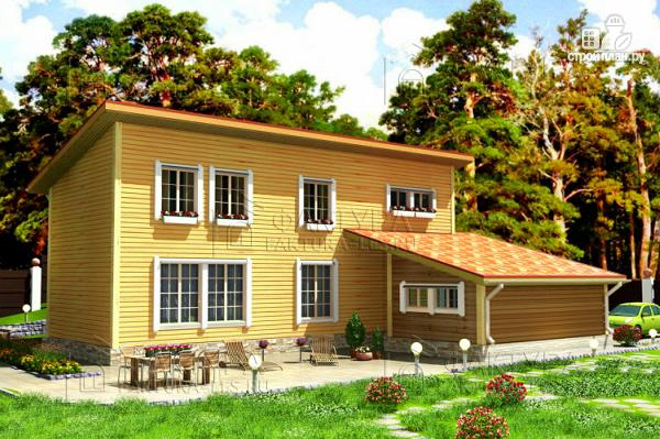Фото: проект узкий дом с гаражом