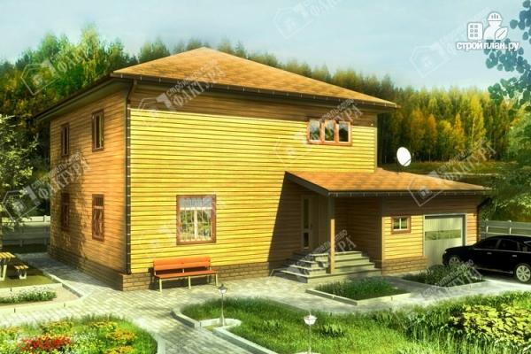 Фото: проект большой дом из бруса с гаражом
