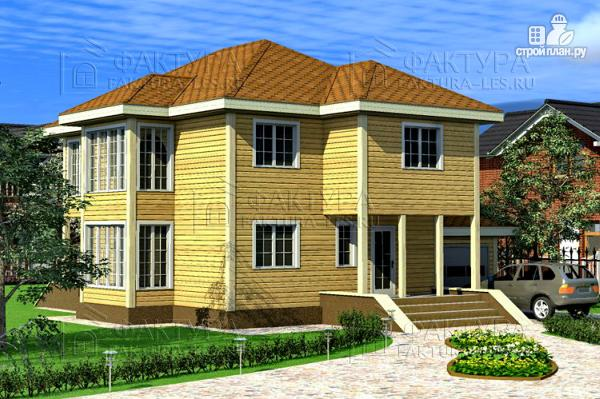 Фото: проект двухэтажный дом из бруса с гаражом