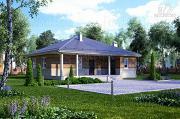 Фото: каркасный дом с большой террасой