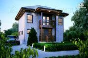 Фото: каркасный дом с балконом и крыльцом