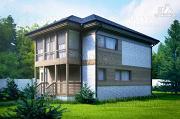 Проект дом каркасный с балконом и большим крыльцом