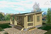Проект бревенчатая баня с террасой