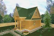 Проект двухэтажный дом-баня из бревна