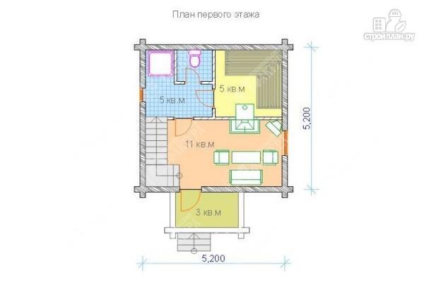 Фото 2: проект двухэтажный дом-баня из бревна