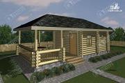 Проект бревенчатая баня с большой верандой