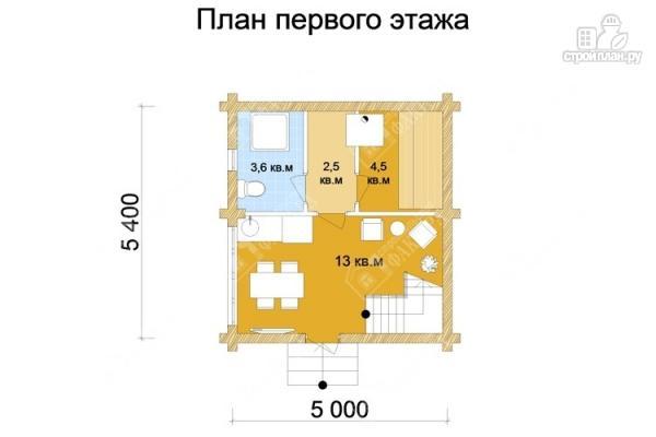 Фото 2: проект дом-баня из бревна с двухсветной гостиной