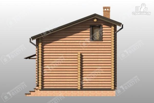 Фото 6: проект дом-баня из бревна с двухсветной гостиной
