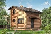 Проект дом-баня из бревна с двухсветной гостиной