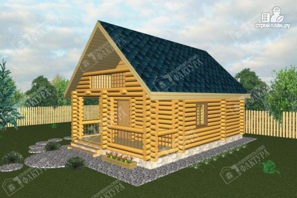 Фото: проект дом-баня из бревна с балконом