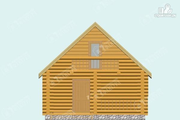 Фото 4: проект дом-баня из бревна с балконом