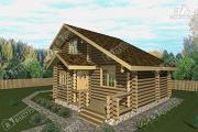 Проект дом-баня из бревна с бассейном