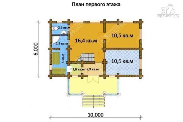 Фото 2: проект бревенчатый дом 6х10 с баней