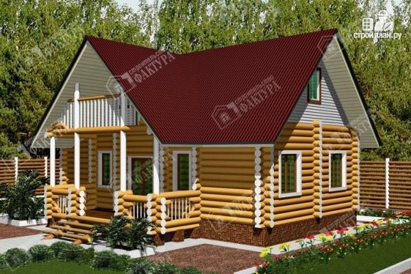 Фото: проект бревенчатый дом 6х10 с баней
