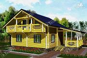 Проект бревенчатый дом-баня 8х8