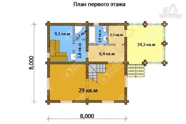 Фото 2: проект бревенчатый дом-баня 8х8