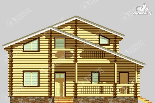 Фото 4: проект дом из бревна с угловой террасой и вторым светом