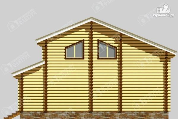 Фото 6: проект дом из бревна с угловой террасой и вторым светом