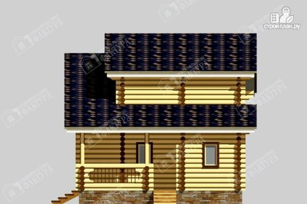 Фото 5: проект дом из бревна с угловой террасой и вторым светом