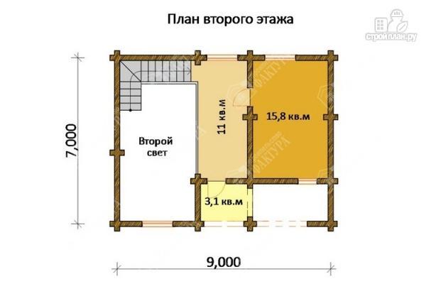 Фото 3: проект дом из бревна с угловой террасой и вторым светом