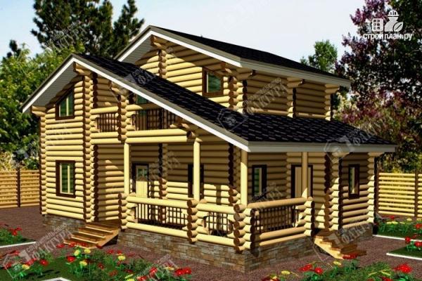 Фото: проект дом из бревна с угловой террасой и вторым светом