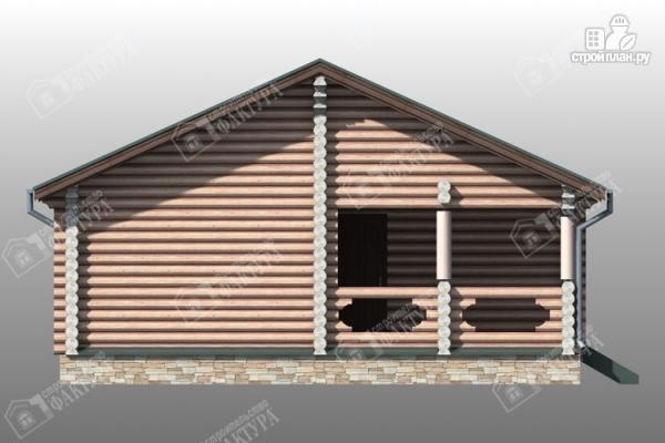 Фото 6: проект бревенчатый дом с баней и двумя верандами