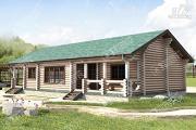 Проект бревенчатый дом с баней и двумя верандами