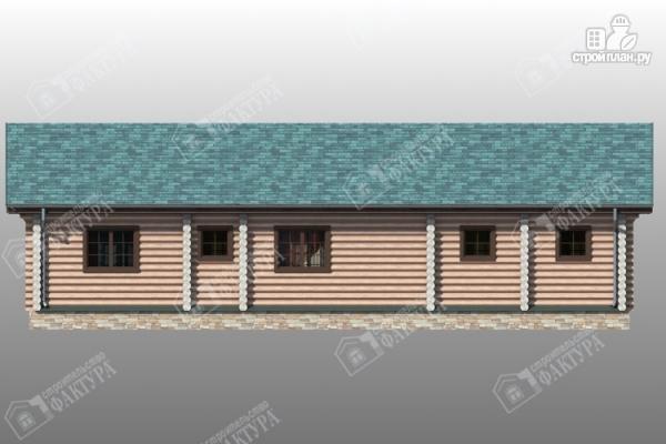 Фото 5: проект бревенчатый дом с баней и двумя верандами